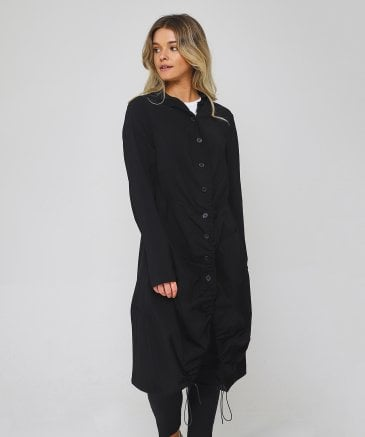 Rundholz Women's Black Plain Long Jacket