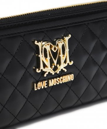 Love Moschino Women's Black Quilted Logo Purse