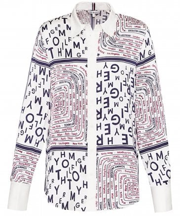 Tommy Hilfiger Women's Florence Logo Patchwork Print Blouse