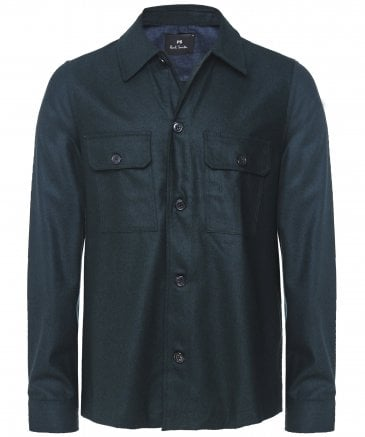 PS by Paul Smith Men's Wool Patch Pocket Overshirt