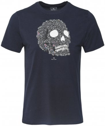 PS by Paul Smith Men's Organic Cotton Zebra Skull Print T-Shirt