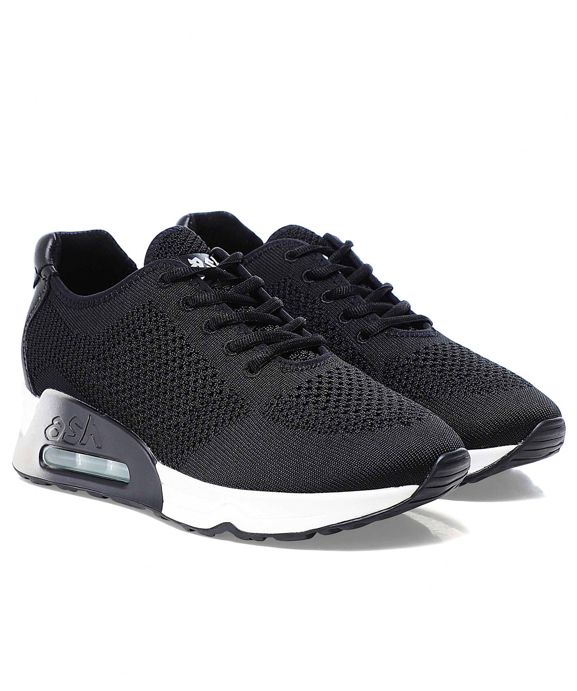 Ash Black Lucky Woven Knit Trainers