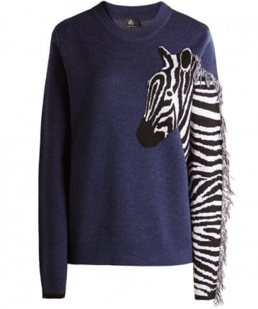 Merino Wool Zebra Sleeve Jumper