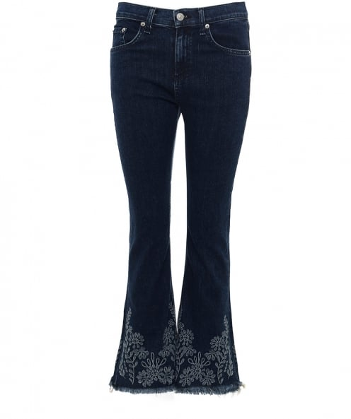 Rag and Bone Embroidered Crop Flare Jeans