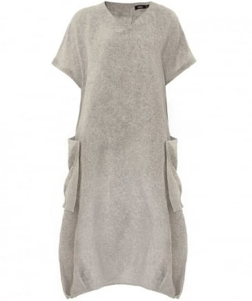 Linen V-Neck Iris Button Dress