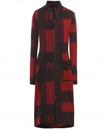 Patterned Jersey Asymmetric Coat