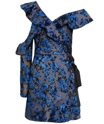 Floral Mini Eyelet Wrap Dress