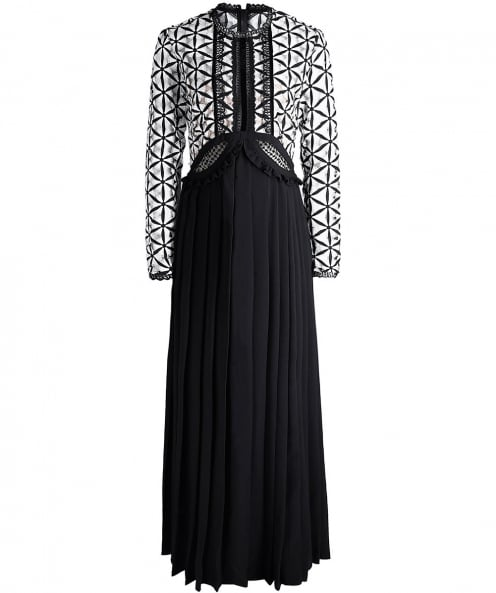 Self-Portrait Guipure Pleated Maxi Dress
