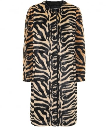 Faux Fur Claire Round Neck Coat