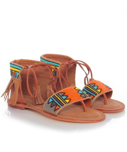 Tendenzza Aztec Fringe Sandals