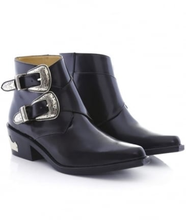 Polished Leather Buckled Boots
