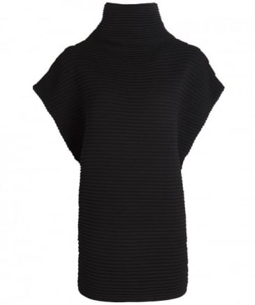 Wool Sleeveless Funnel Neck Jumper