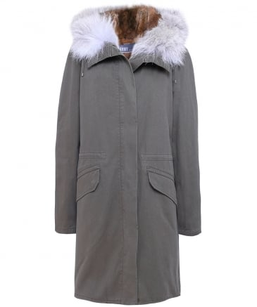 Cotton Canvas Fur-Lined Parka