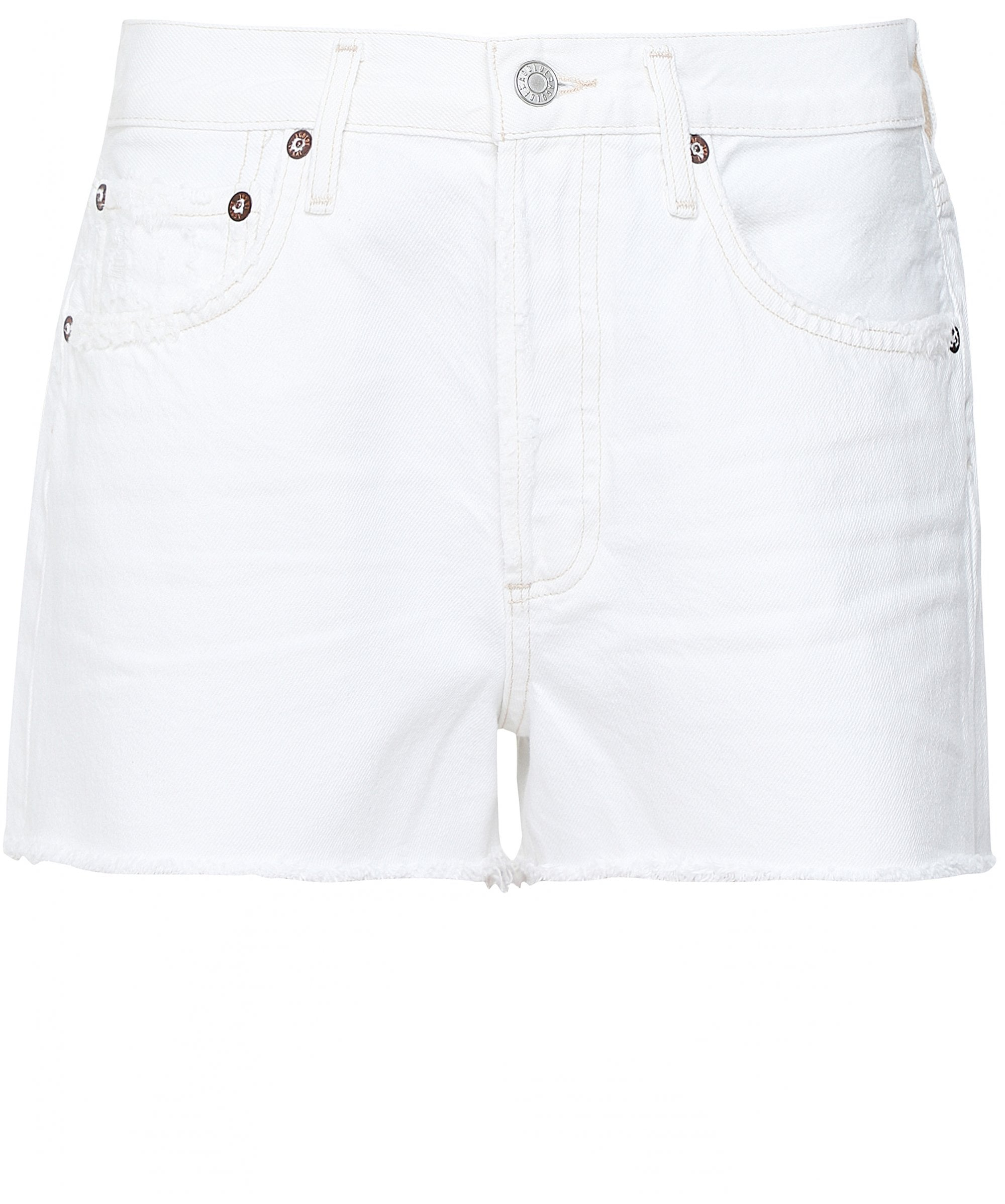This is an image of a pair of white denim shorts for women