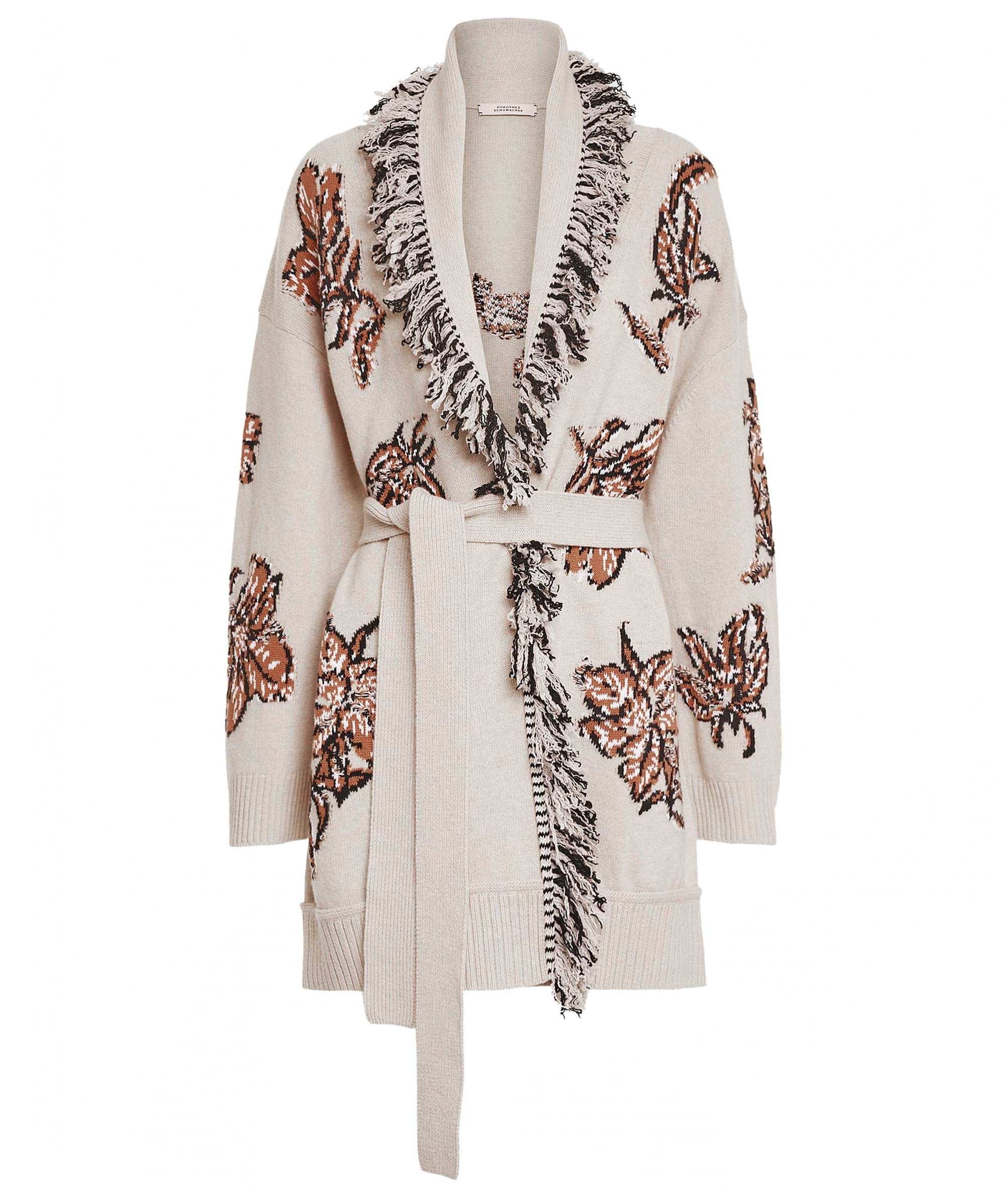 This is an image of a cardigan with a fringed trim