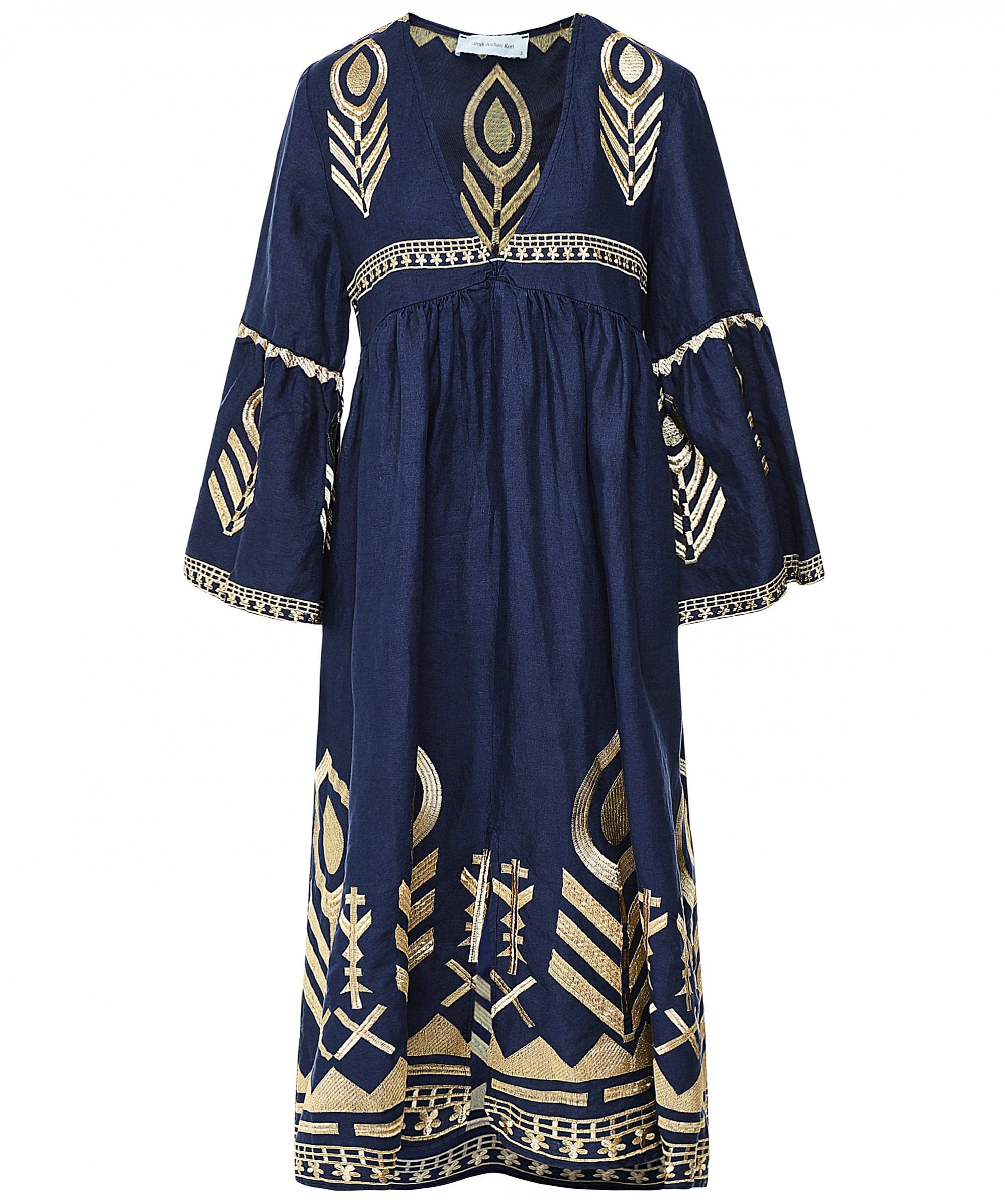 This is an image of a navy blue midi dress with embroidered details and bell sleeves