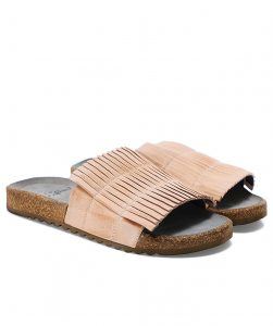 This is an image of some women's leather sliders with a pleated front