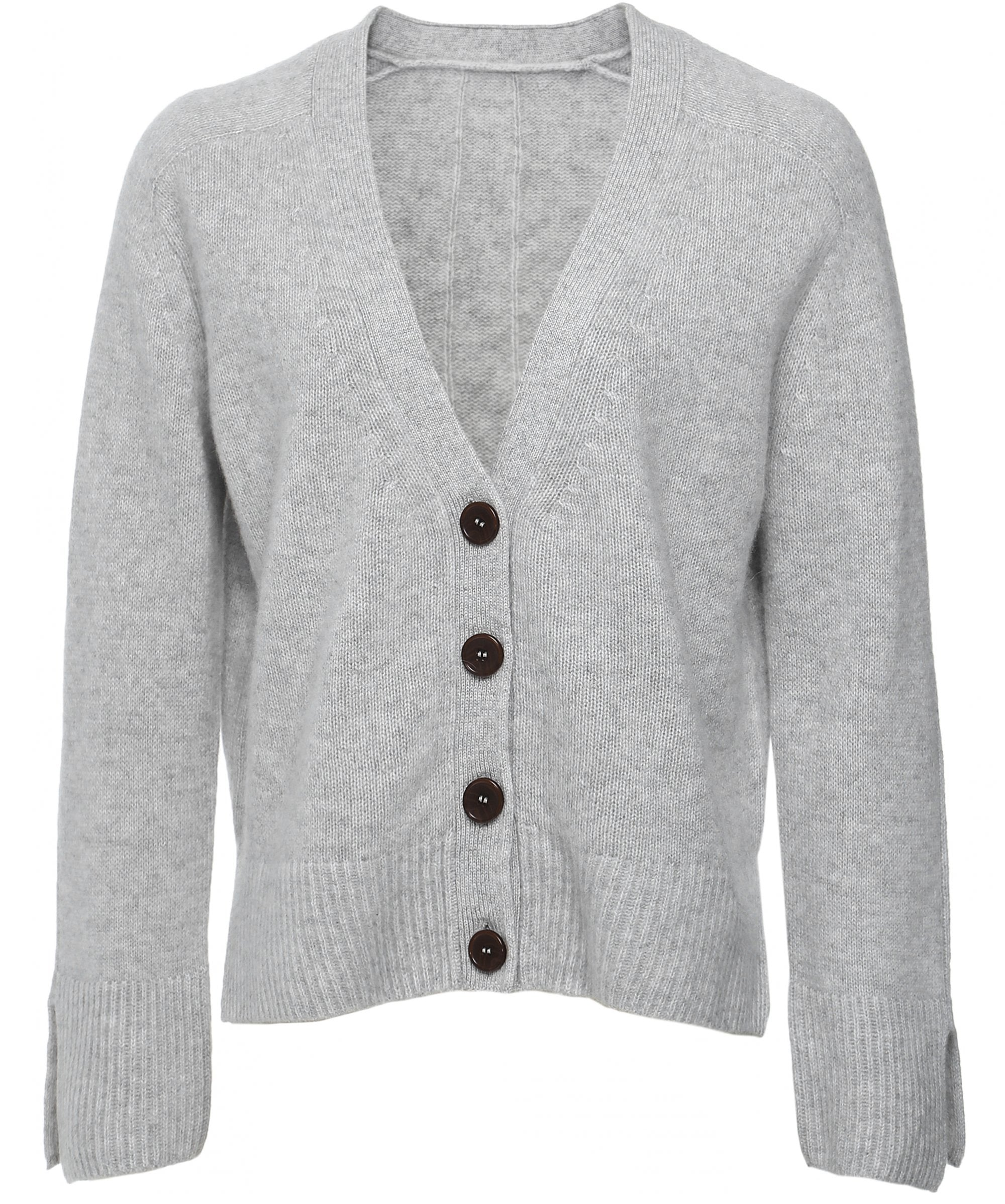 This is an image of a grey cashmere cardigan with button up fastening
