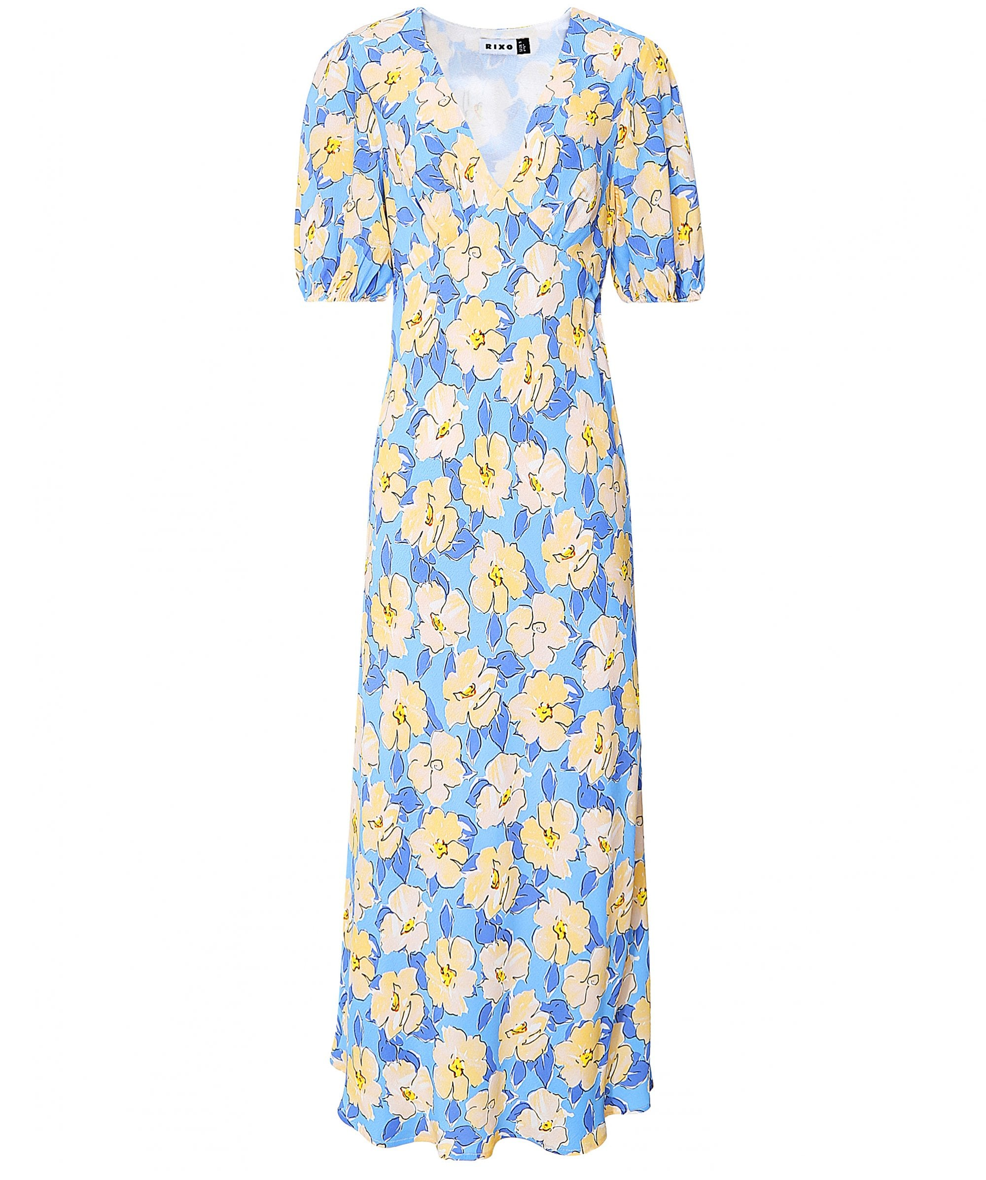 This is an image of a blue and yellow floral midi dress with v-neck